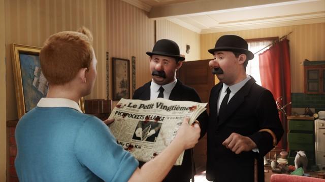 Tintin møter Dupond og Dupont i Tintin - Enhjørningens hemmelighet (Foto: The Walt Disney Company Nordic).