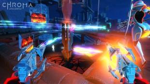 Ved å la våpnene styres av musikken og ammunisjonen av selve lydene, forsøker «Chroma» å integrere musikk som en bærebjelke i spillmekanikken. Skjermbilde fra alpha-utgaven av spillet. (Foto: Harmonix)