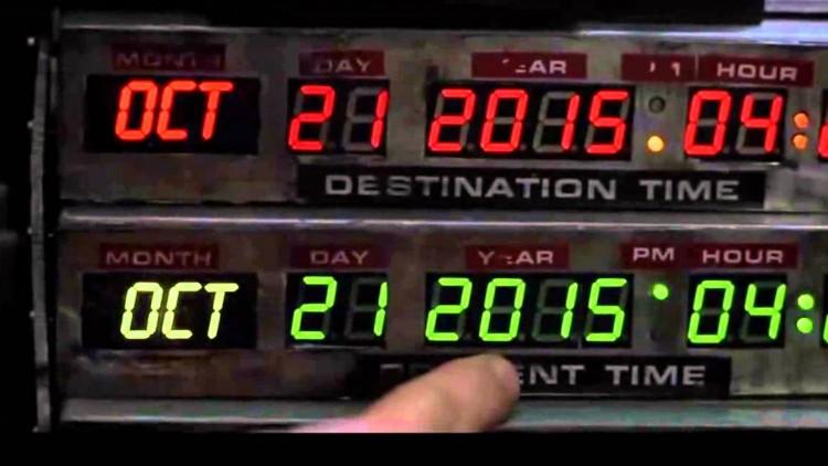 Panelet på tidsmaskinen. Doc. og McFly ankommer fremtiden 21. oktober 2015, nøyaktig klokken 16.29. (Foto: Universal Pictures)
