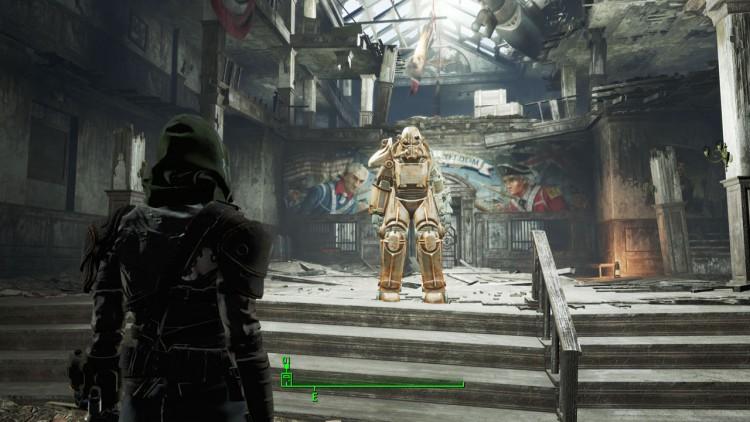 Du kan modifisere og oppgradere power armour-drakten din i spillet. Akkurat her var min tom for energi. (Skjermdump: Marte Hedenstad, Bethesda Softworks).