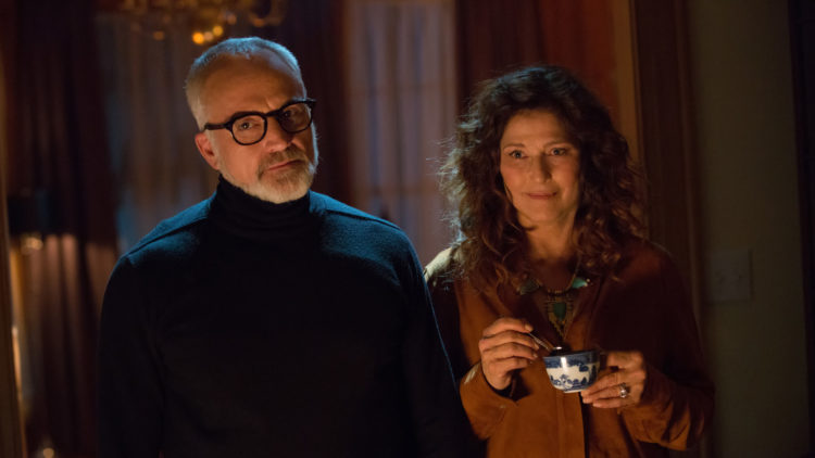 """Roses pappa Dean (Bradley Whitford) og mamma Missy (Catherine Keener) i """"Get Out"""". (Foto: United International Pictures)"""