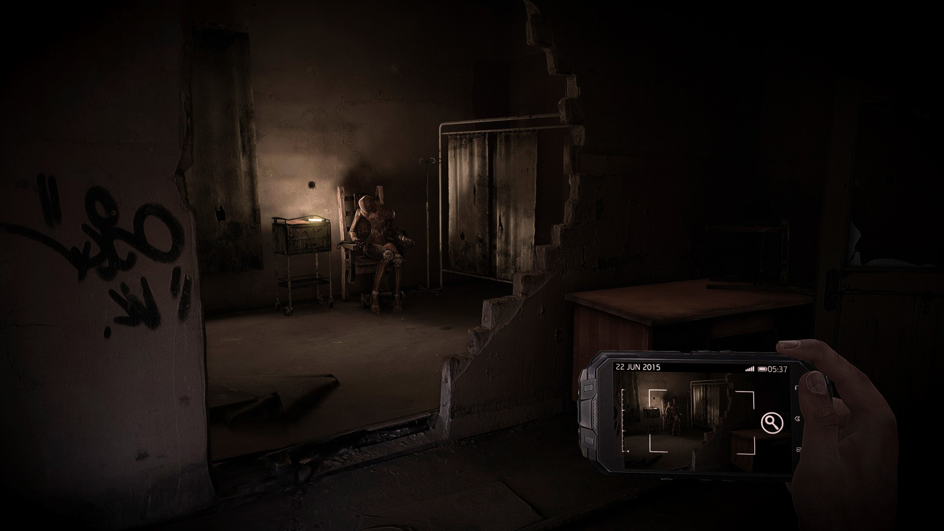 Det lurer et uhyggelig skue rundt hver krok på mentalsykehuset. (Foto: Bandai Namco Entertainment)