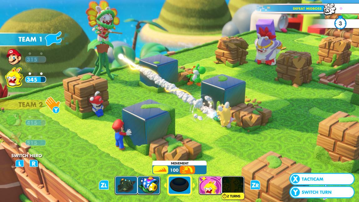 Å bruke omgivelsene til beskyttelse og strategisk overtak er nødvendig for å vinne i «Mario + Rabbids Kingdom Battle». (Foto: Ubisoft / Nintendo)