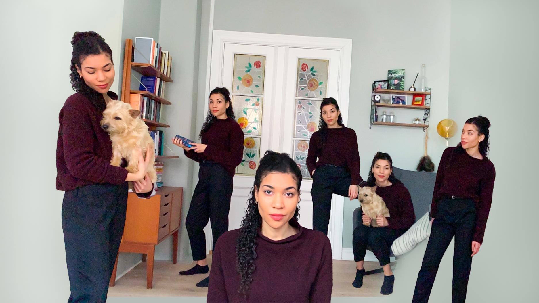 Fem utklipte versjoner av den samme kvinnen med mørkt krøllete hår komplimenterer hverandre i den lysegrønne stuen. Kvinnen heter Alice. Rommet prydes av en hvit glassdør i midten med blomster i rødt og gult, og en gammeldags bokhylle til venstre. Noe steder i bildet holder Alice som er i ført en sort bukse og den rød genser en liten gylden hund som heter Emma. Andre steder stirrer Alice på seg selv, og helt i front stirrer hun på oss.