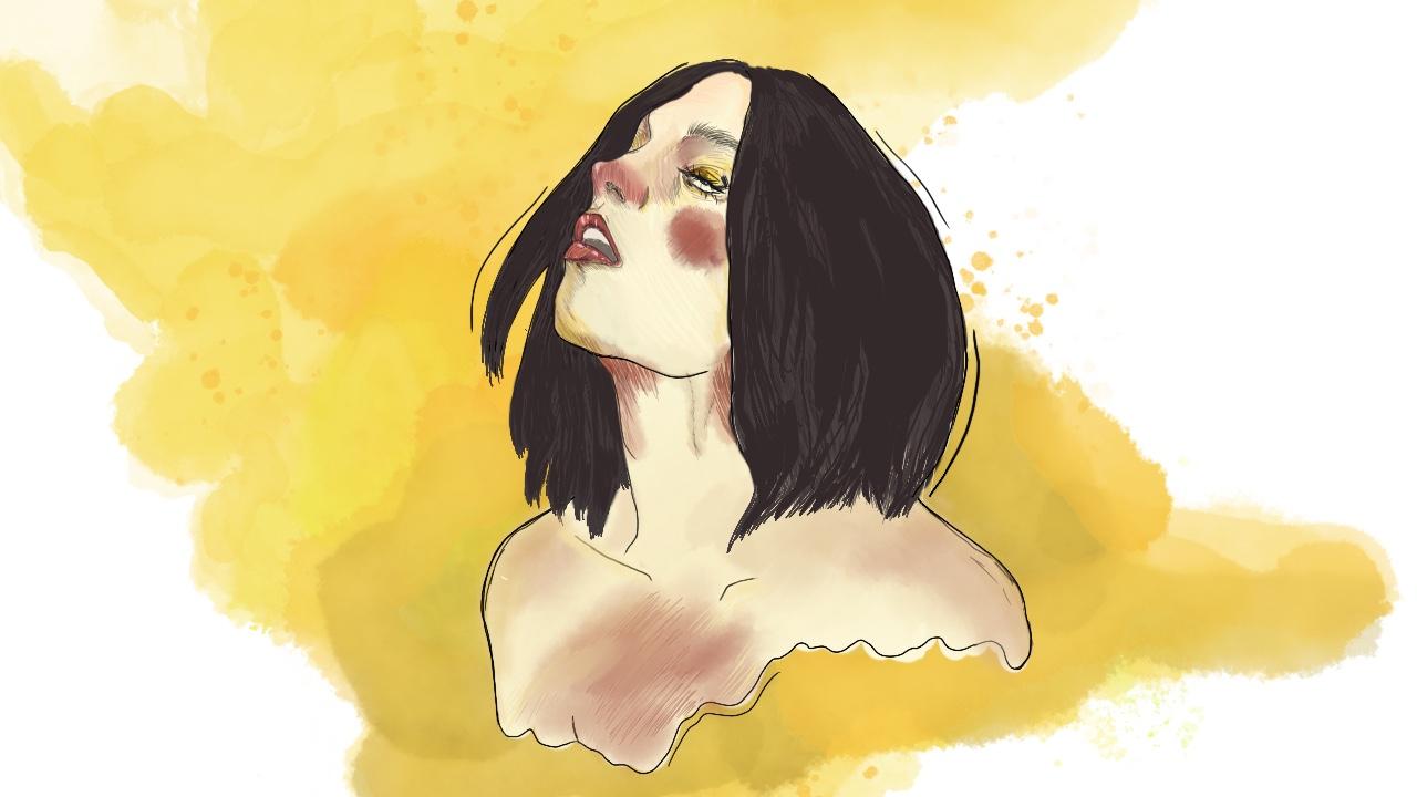 Illustrasjon av jente som faker orgasme. Masse gul farge bak jenta