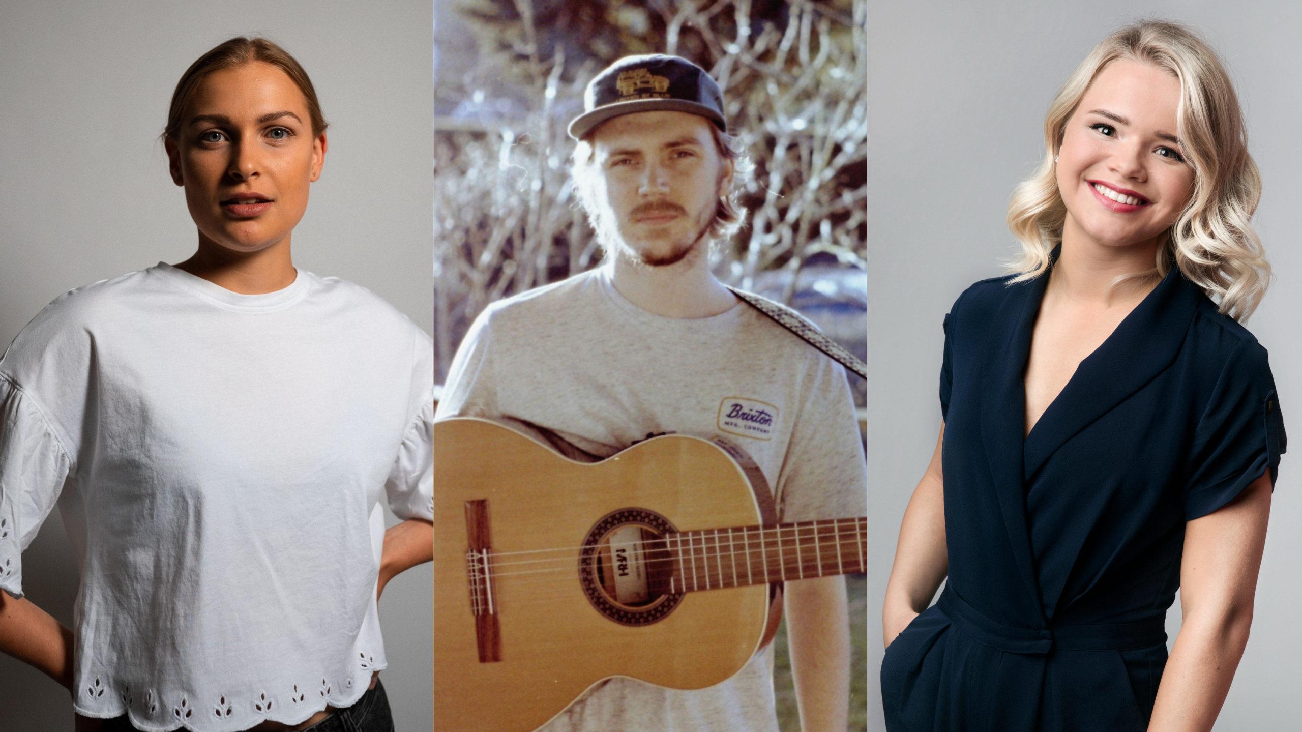 Det er ein biletekollasj. Til venstre er det en jente med mørkeblondt hår som er satt bak. Ho har på seg kvit skjorte. I midten er det bilete av ein ung kar med beige t-skjorte og han held ein gitar. Han har skjegg og har på seg ein blå caps. Til høgre er det bilete av ei blond smilande jente som har på seg ein mørkeblå dress.