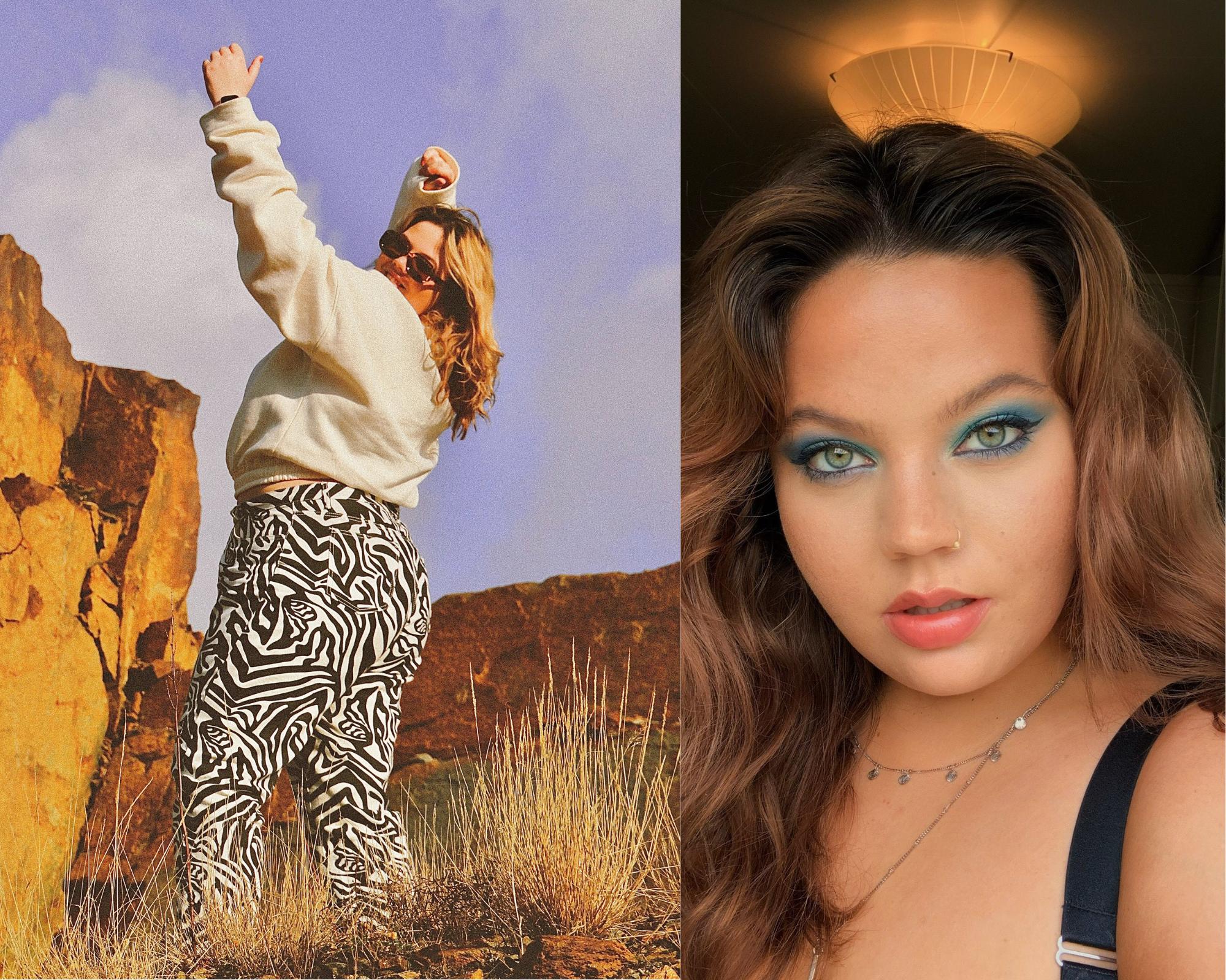 Venstre: Sonja Iren har på seg en zebra-mønstret bukse, solbriller og en lys genser. Hun står utendørs med brune steiner rundt seg. Hun har henda i været og ser mot kamera. Hun har halvlangt mørkt blondt hår.Selfie av Sonja Iren. Hun har sminket med blå øyenskygge rundt øynene og har brunt halvlangt hår. Hun har et poserende uttrykk i ansiktet. Hun har ring i nesa.