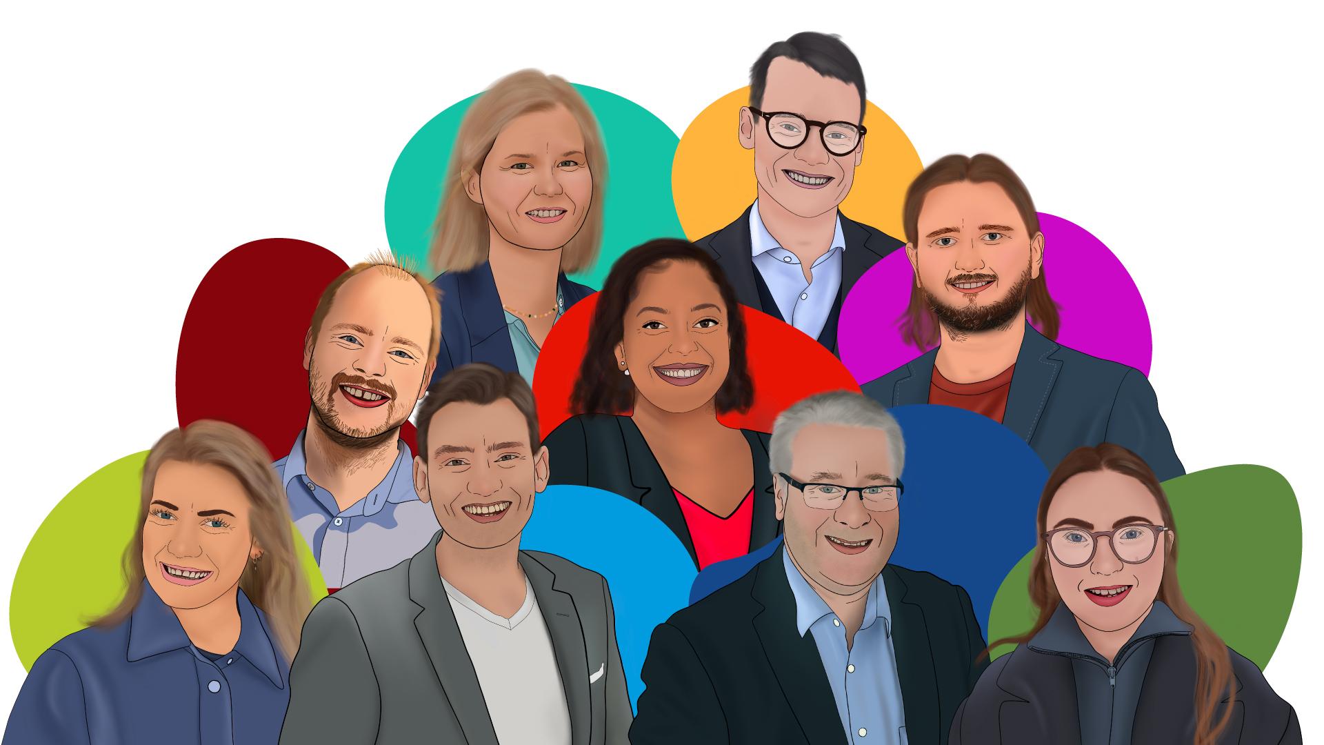 En illustrasjon av alle politikerne som er med i tv-serien Latterlig politikk. Alle politikerne smiler. Det er en runding med fargen til partiet bak hver politiker.